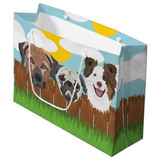 Bolsa De Regalo Grande Perros afortunados del ilustracion en una cerca de