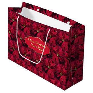 Bolsa De Regalo Grande Poinsettias rojos