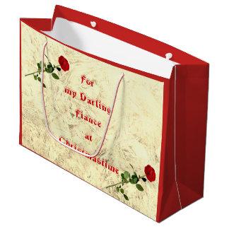 Bolsa De Regalo Grande Prometido querido del rosa rojo en el diseño del