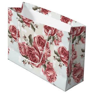 Bolsa De Regalo Grande Ramo dibujado romántico de los rosas rojos del