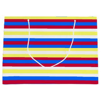 Bolsa De Regalo Grande Rayas amarillas, rojas, blancas y azules