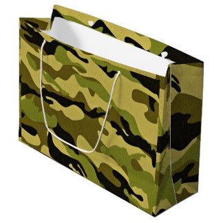 Bolsa De Regalo Grande Textura verde del ejército del camuflaje