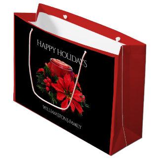 Bolsa De Regalo Grande Velas, acebo, y Poinsettia rojos festivos del