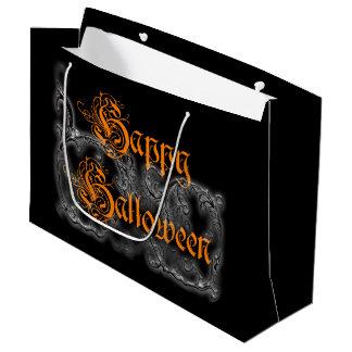Bolsa De Regalo Grande Volutas blancas fantasmales del feliz Halloween