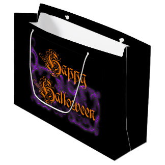 Bolsa De Regalo Grande Volutas púrpuras fantasmales del feliz Halloween