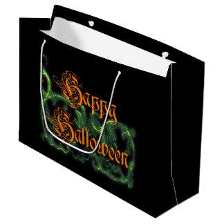 Bolsa De Regalo Grande Volutas verdes fantasmales del feliz Halloween