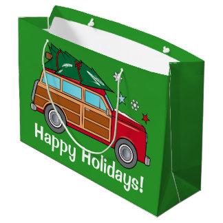 Bolsa De Regalo Grande Woodie con el árbol de navidad listo para ser