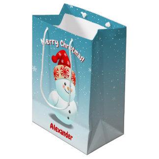 Bolsa De Regalo Mediana 2 muñecos de nieve lindos con las narices de la