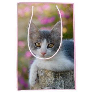 Bolsa De Regalo Mediana Amantes mullidos del gato de la foto del pequeño