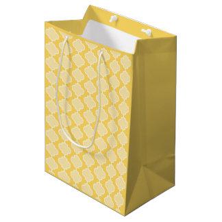 Bolsa De Regalo Mediana Bolso amarillo del regalo de Quatrefoil del