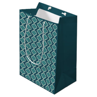 Bolsa De Regalo Mediana Bolso azul marino del regalo de Quatrefoil del
