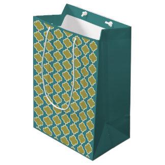 Bolsa De Regalo Mediana Bolso azul y verde del regalo del modelo de
