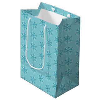 Bolsa De Regalo Mediana Bolso del regalo de los copos de nieve del navidad