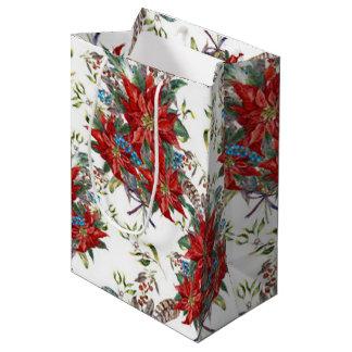 Bolsa De Regalo Mediana Bolso festivo del regalo de la flor del Poinsettia