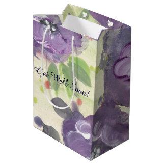 Bolsa De Regalo Mediana Bolso florecido púrpura del regalo