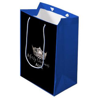 Bolsa De Regalo Mediana Bolso-Navidad azul del regalo de la corona de