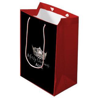 Bolsa De Regalo Mediana Bolso-Navidad rojo del regalo de la corona de