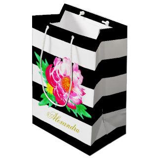 Bolsa De Regalo Mediana Bolso negro y blanco de la flor rosada del Peony
