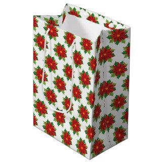 Bolsa De Regalo Mediana Bolso-Poinsettias del regalo de vacaciones