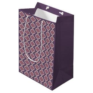 Bolsa De Regalo Mediana Bolso púrpura del regalo de Quatrefoil del