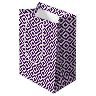 Bolsa De Regalo Mediana Bolso púrpura y blanco geométrico del regalo del