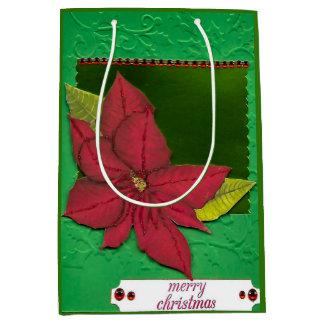 Bolsa De Regalo Mediana Bolso rojo del regalo del Poinsettia