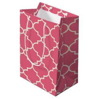 Bolsa De Regalo Mediana Bolso rosado del regalo del modelo de Quatrefoil