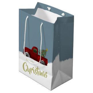 Bolsa De Regalo Mediana Camión retro y árbol de navidad del vintage rojo