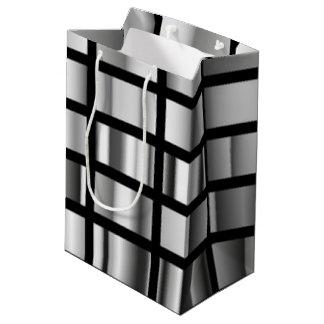 Bolsa De Regalo Mediana Collage metálico de plata negro