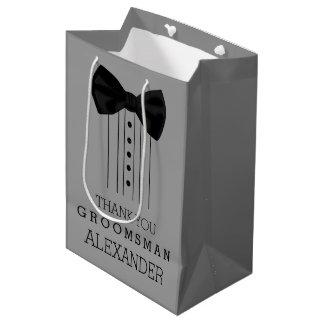 Bolsa De Regalo Mediana Color del gris del personalizar del smoking de la