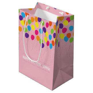 Bolsa De Regalo Mediana Cumpleaños colorido de los chicas de los globos