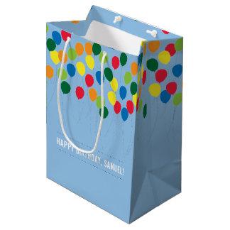 Bolsa De Regalo Mediana Cumpleaños colorido de los muchachos de los globos