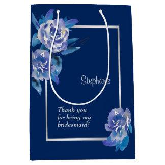 Bolsa De Regalo Mediana Dama de honor de plata floral azul elegante