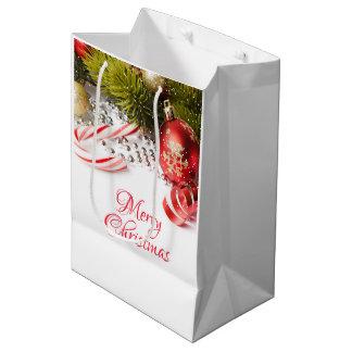 Bolsa De Regalo Mediana Decoraciones verdes y rojas de plata del navidad