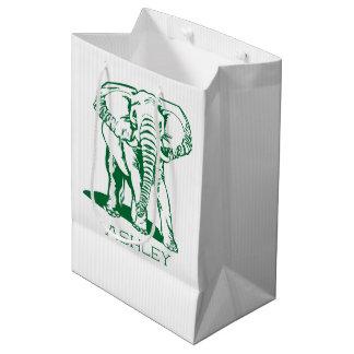 Bolsa De Regalo Mediana Dibujo lineal del elefante lindo del verde caqui