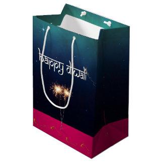Bolsa De Regalo Mediana Diwali feliz chispeante - bolso medio del regalo