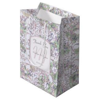 Bolsa De Regalo Mediana El boda floral del damasco de la lavanda le