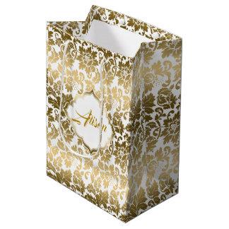 Bolsa De Regalo Mediana El oro entona los damascos florales sobre el fondo