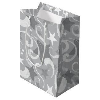 Bolsa De Regalo Mediana Elegante, gris, estrellas, blanco, remolino,