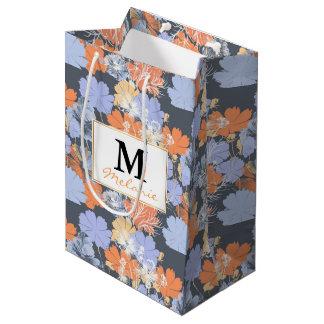 Bolsa De Regalo Mediana Estampado de flores anaranjado violeta gris del