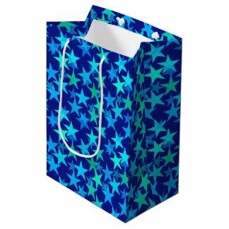 Bolsa De Regalo Mediana Estrellas, azul de cobalto y turquesa geométricos