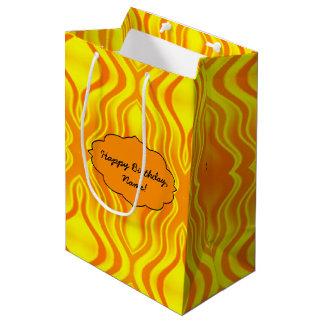 Bolsa De Regalo Mediana Extracto del amarillo anaranjado de las olas de