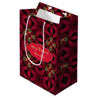Bolsa De Regalo Mediana Extracto rojo 2 de los Poinsettias