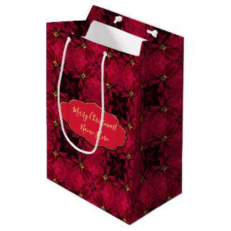 Bolsa De Regalo Mediana Extracto rojo 3 de los Poinsettias