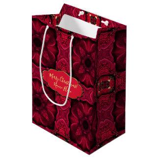 Bolsa De Regalo Mediana Extracto rojo 9 de los Poinsettias