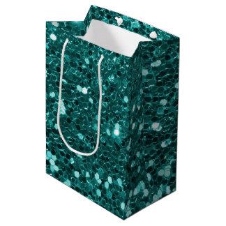 Bolsa De Regalo Mediana Falso purpurina verde azulado elegante