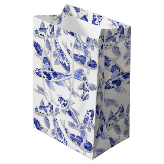 Bolsa De Regalo Mediana Koi azul y blanco