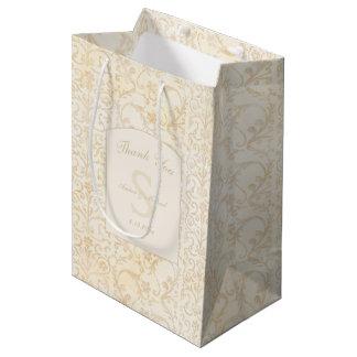 Bolsa De Regalo Mediana La nata floral del damasco y el boda beige le