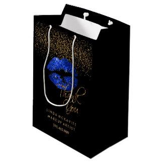 Bolsa De Regalo Mediana Lápiz labial azul del purpurina - gracias
