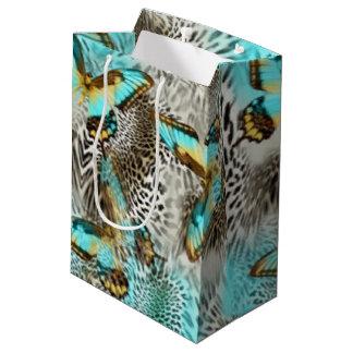 Bolsa De Regalo Mediana Mariposas del estampado leopardo y del trullo